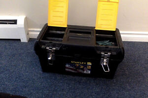 Stanley tool box with open up storage and 2 top compartments for