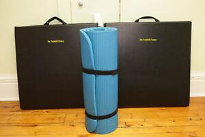 2 - Folding Black Exercise Mats and 1 - Yoga Mat