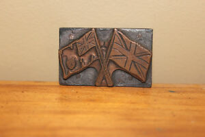 Old Printer's Advertising Block - Pair of Flags