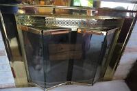 BRAND NEW Polished Brass Glass Fireplace Screen