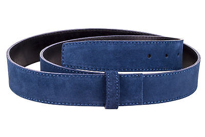 Blue Suede Leather Belt Strap Mens Womens Designer belts Big and Tall Capo Pelle ()