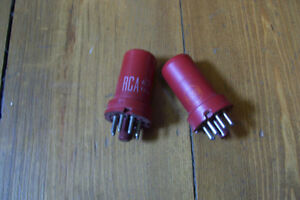 TWO VERY RARE RCA RED METAL TYPE 5693 AMP TUBES Stratford Kitchener Area image 1