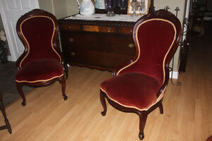 Set of 2 Beautiful Antique Carved Top Chairs