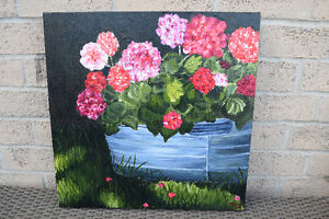 Original Acrylic Flower Painting on Canvas