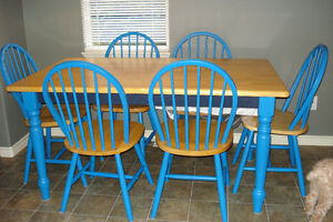 Butcher Block table & 6 Chairs