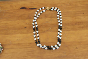 Vintage 2 Strand Black and White Bead Necklace London Ontario image 1