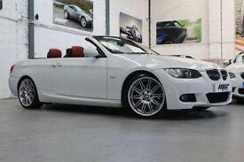 BMW 325d M Sport Highline Convertible, 09 Reg, 39k, White, Red Leather, Nav Etc.