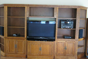 Oak wall unit  (contents not included)