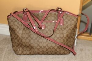 COACH Brown with pink trim large bag/purse