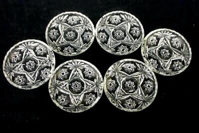 Set of 6 Vintage Anchor Hocking Star of David Clear Glass Coasters Scallop Edge