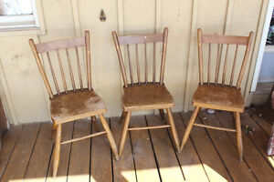 Set of 3 Old Farmhouse Plank Seat Chairs London Ontario image 1