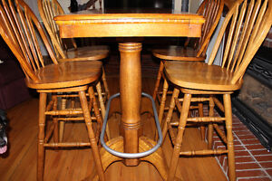 Pub Table & 4 Swivel Chairs - Solid Wood - Good Condition - OBO
