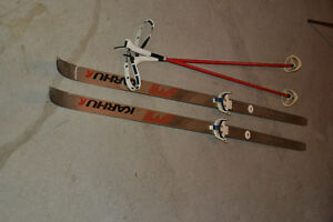 Cross-country skis and poles