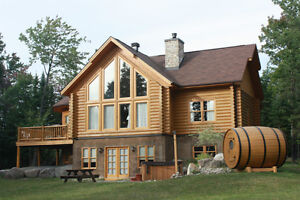 Log house to rent at St Sauveur Quebec for 10 persons