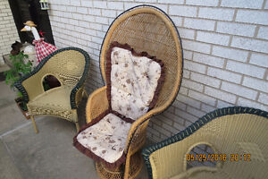 WICKER FAN CHAIR HIGH BACK WITH CUSHIONS