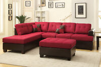 NEW Red Linen Sectional Sofa, Free Delivery!