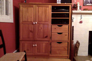 Large Pine Entertainment Unit built by Lake City Woodworkers