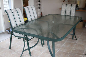 "72x43"" patio table with high-back chairs"