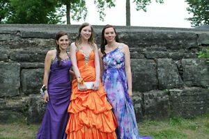 Prom dress: Orange with corset back