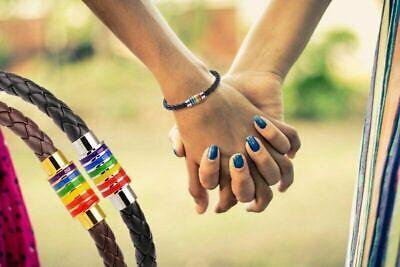 Pride Bracelet Jewelry Titanium Gay LGBT Leather Charm Flag Rainbow Steel Magnet
