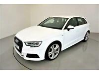 2017 Audi A3 2.0 TDI S LINE 5d-1 OWNER FROM NEW-HALF LEATHER-18 inch ALLOYS-BLUE