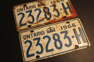 License Plates x2 ON Vintage Retro 1966 Classic Car restoration