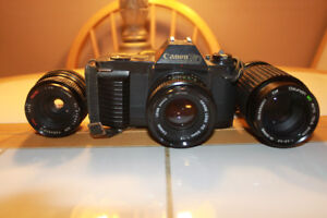 Canon T50 35mm Film Camera With 3 Lenses