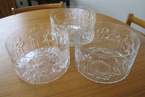 Arabia Art Glass Salad Bowls Dessert Bowls Finland