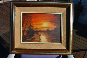 OIL ON CANVAS SUNSET SCENE PAINTING EXCELLENT 25 X 22 INCHES