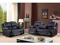 New 12 Months Warranty Raff Recliner Cup holder Sofa Leather Black Brown Bargain SALE