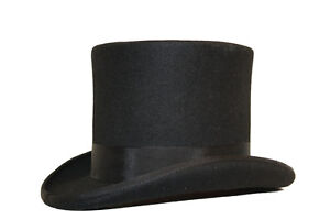 HAND MADE BLACK FELT TOP HAT 100% WOOL