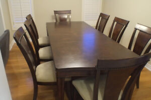 Dining Table, 8 chairs with Buffet & Hutch