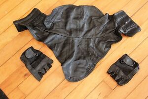Genuine Leather Riding half Gloves & Leather  face/Neck warmer