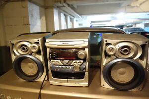 Old School 3 CD Changer Sound System with Two Tape Decks