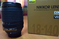 like new nikon AF S 18 140 G ED VR super zoom lens