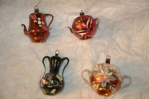 vintage christmas teapot, coffee pot and urn ornaments