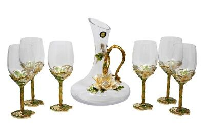 RORO Enameled and Jeweled Bohemian Crystal Wine Goblets Glasses & Jug Water Set