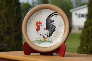 RARE ROOSTER COLLECTOR PLATE & MATCHING PITCHER