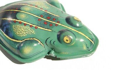 3 Stk. großer Knackfrosch hellgrün (Historisches Blechspielzeug / Tin Toy)