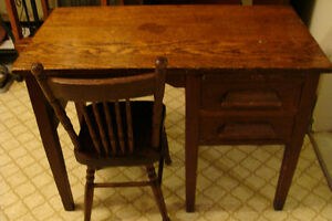 Antique Oak Children's Desk with chair