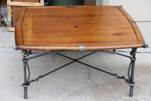 wrought iron wood coffee table 4x4ft