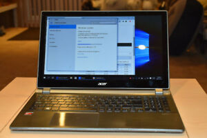 "Acer 15.6"" Touchscreen laptop AMD A6 120GB SSD 6GB W10"