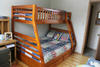 Single over Double Solid Wood Bunk Bed