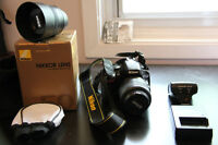 Nikon D5100 with 18-55 mm lens, 50mm f1.8, and SB400 speed light