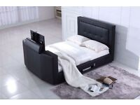 "LOVELY NEW SMART TV BED LEATHER HOLDS UP TO 40"" TV"