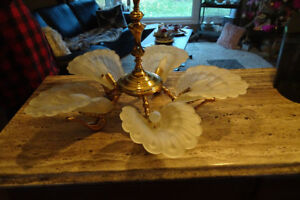 Gold Swan Chandelier (Includes 4 matching Wall Sconces).