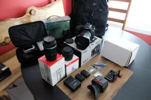 Mega Bundle 7D Canon + 3 objectifs, trépied,rail,kit son, acces.