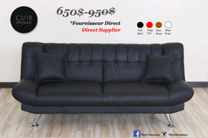 "Sofa bed,Futon,Sofa lit *Cuir Véritable*"" **Models 2019**"