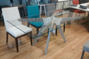"""72""""x36"""" Dining Table. Solid Oak Base. 1/2"""" Glass Top. Save $700!"""
