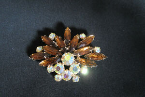 Vintage 1950's AB and Topaz Crystal Brooch